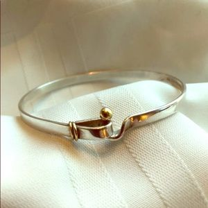 Tiffany and Co. hook and eye gold/silver bangle